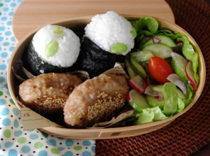 sesame pork patty bento